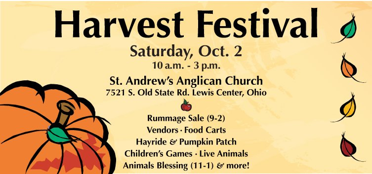 Harvest Festival Saturday, Oct. 2
